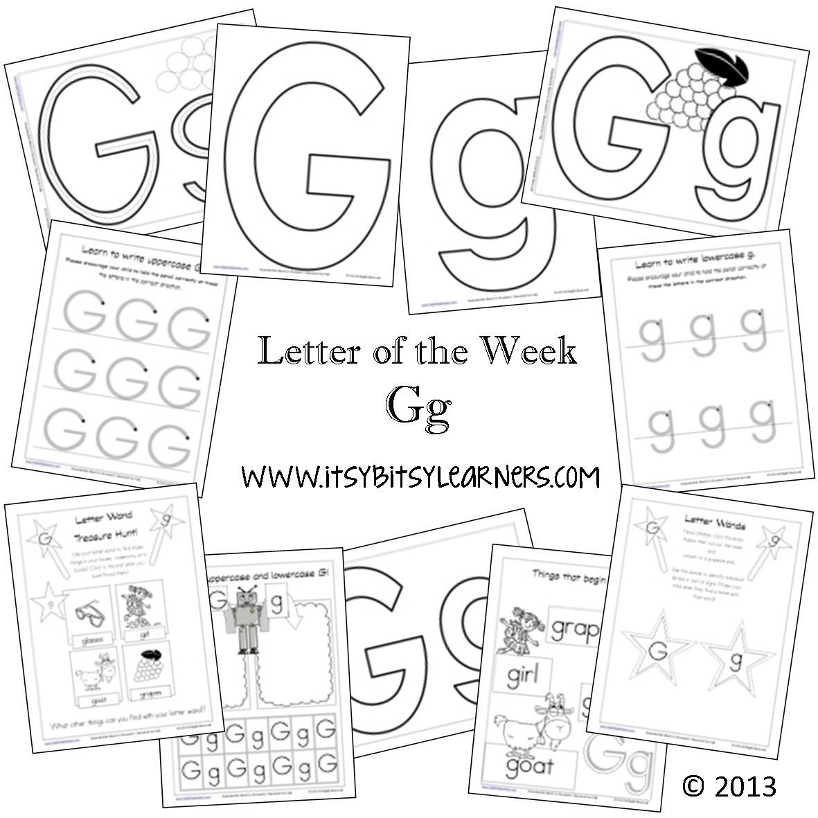 Letter G Preschool Printables From Itsy Bitsy Learners