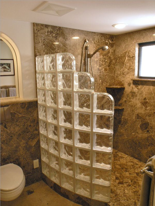Glass Block Shower on Pinterest  Glass Blocks Wall Glass Brick and Walk In Shower