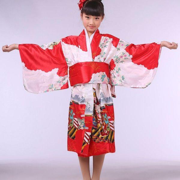 Red Stylish Japanese Baby Girl Kimono Dress Cute Kid