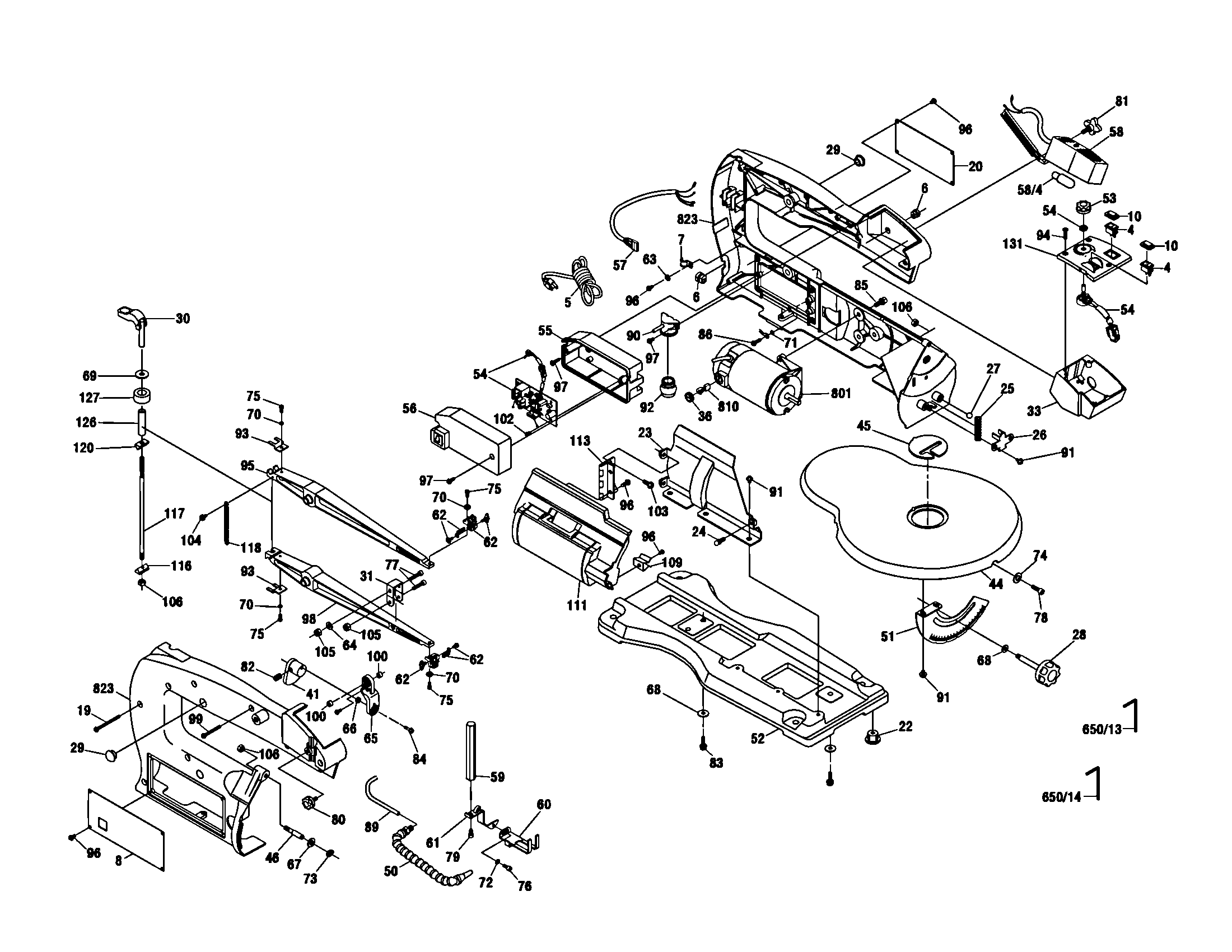 SCROLL SAW Diagram & Parts List for Model 1680 Dremel