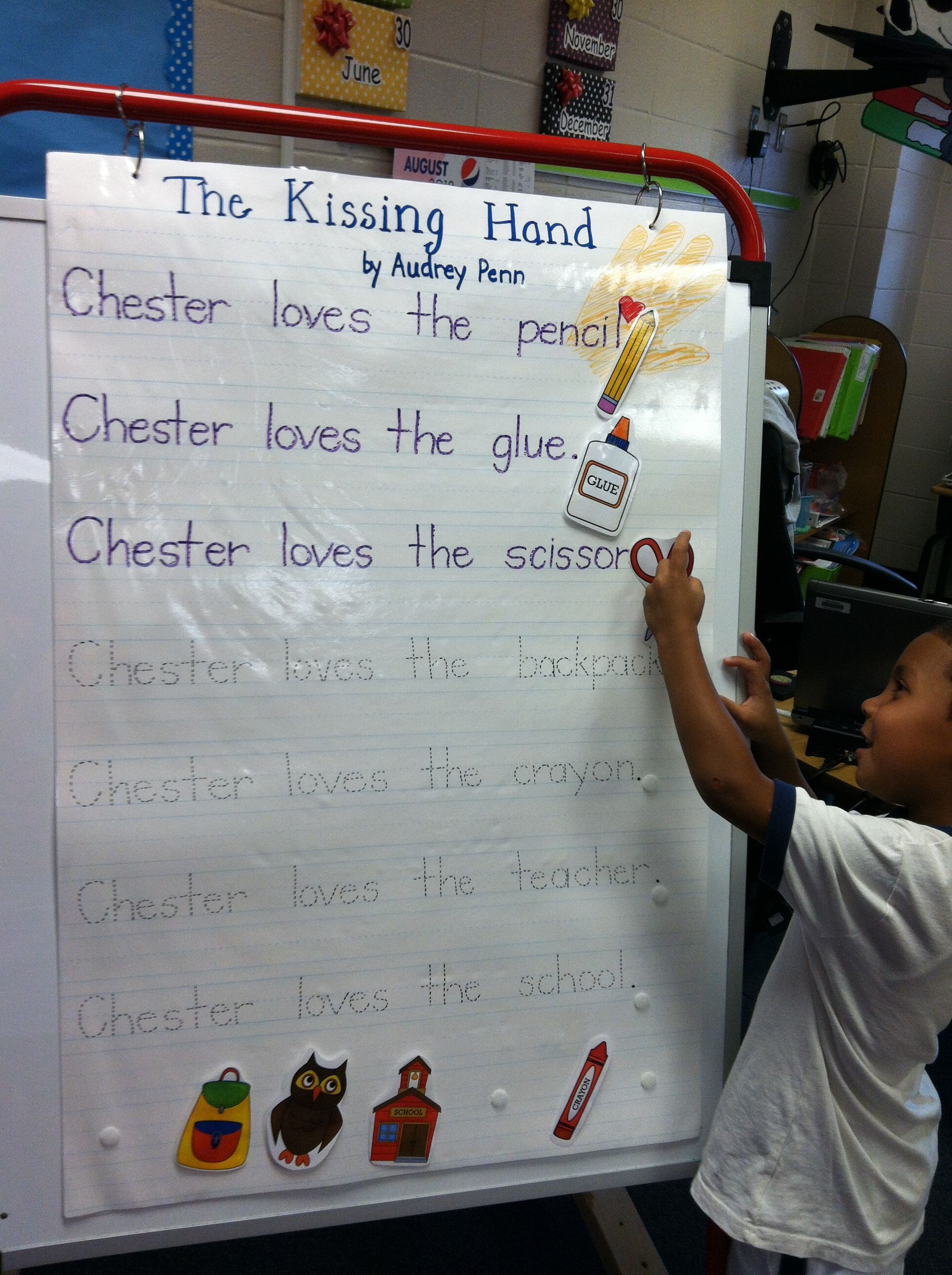 Students Read And Interact With Predictable Sentences About Chester From The Kissing Hand