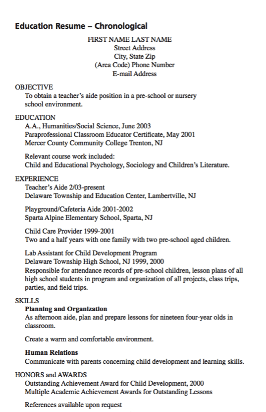Example Of Teacher Aide Resume Exampleresumecv