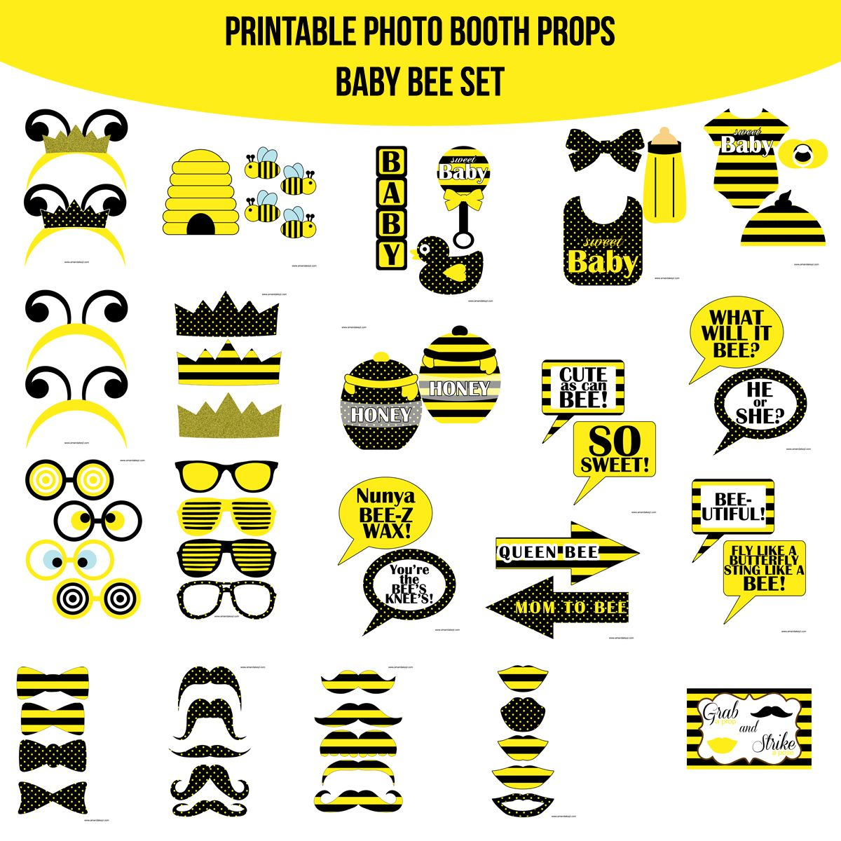 Instant Download Baby Bee Mom To Bee What Will It Bee Printable Photo Booth Prop Set