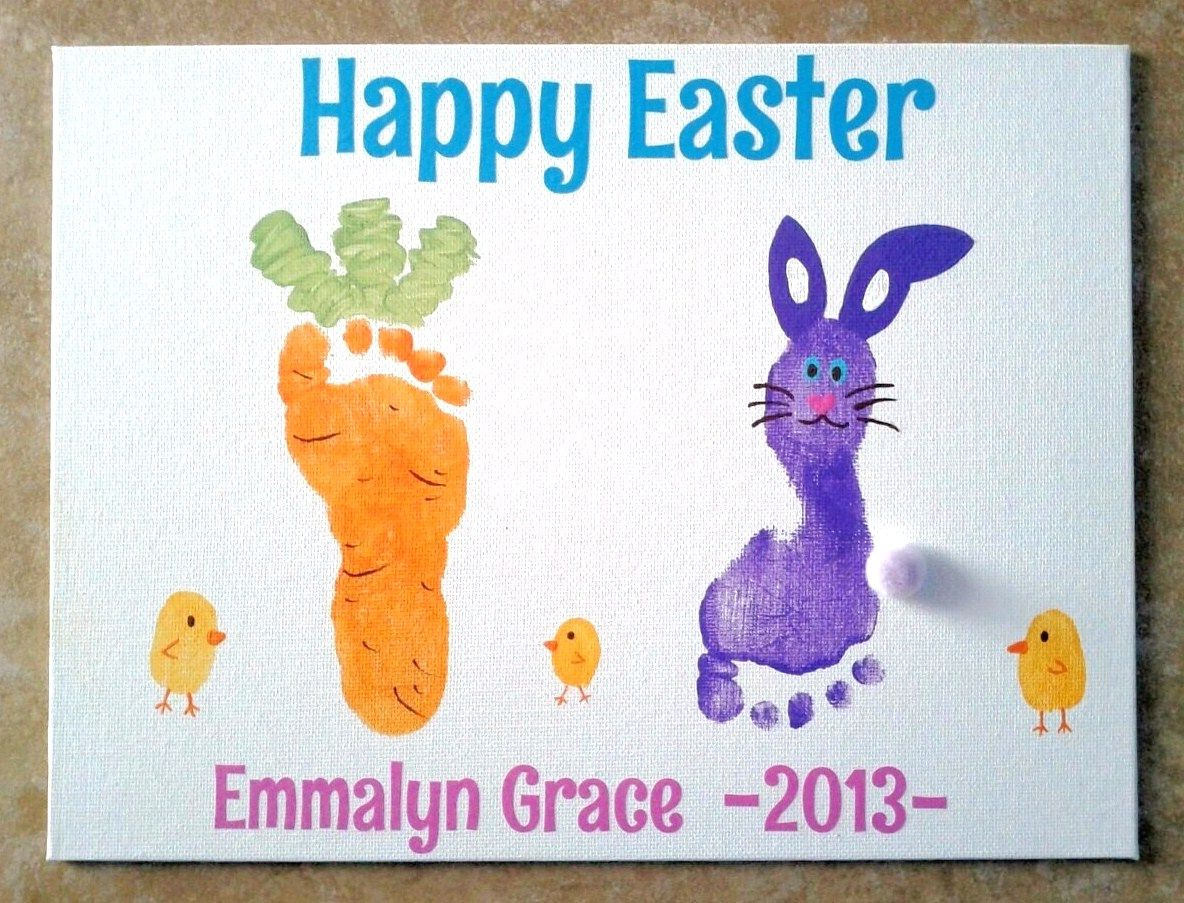 Easter Foot Prints We Took Prints Of Emmalyn S Left Foot And Made It Into A Bunny And Her