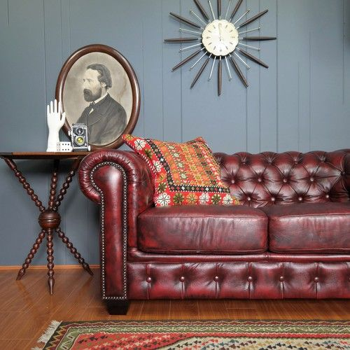 oxblood red chesterfield sofa 4 seater bed leather :: eclectic industrial ...