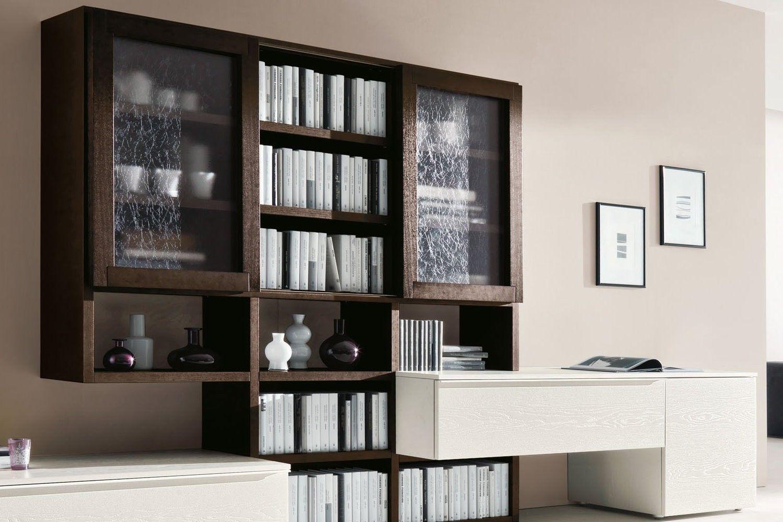 Mobile soggiorno moderno con vetrinette 554  dettaglio elementi vetrina inseriti nel sistema