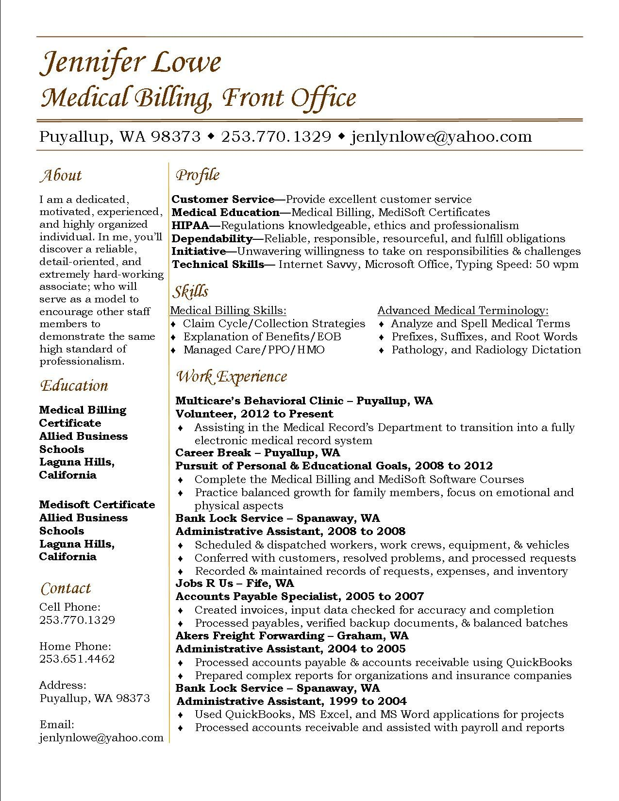 Jennifer Lowe Resume Medical Billing #resume #career Medical