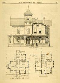 1873 Print House Home Architectural Design Floor Plans
