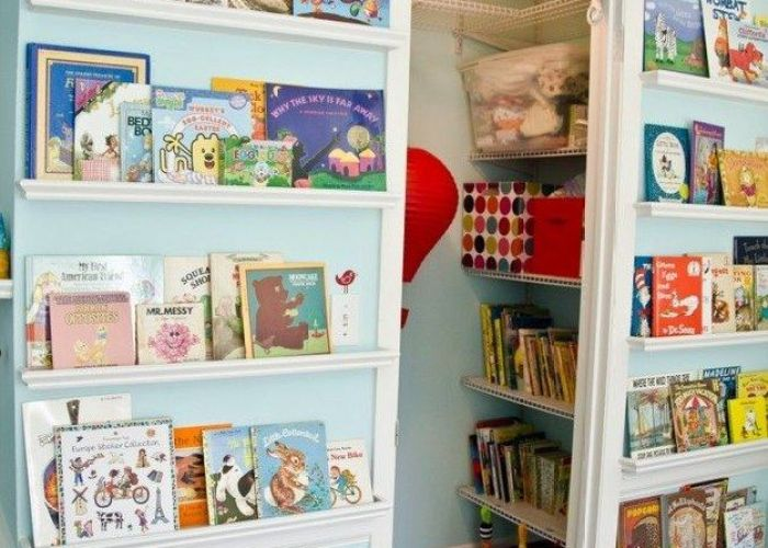 clever storage solutions for living with kids also library wall