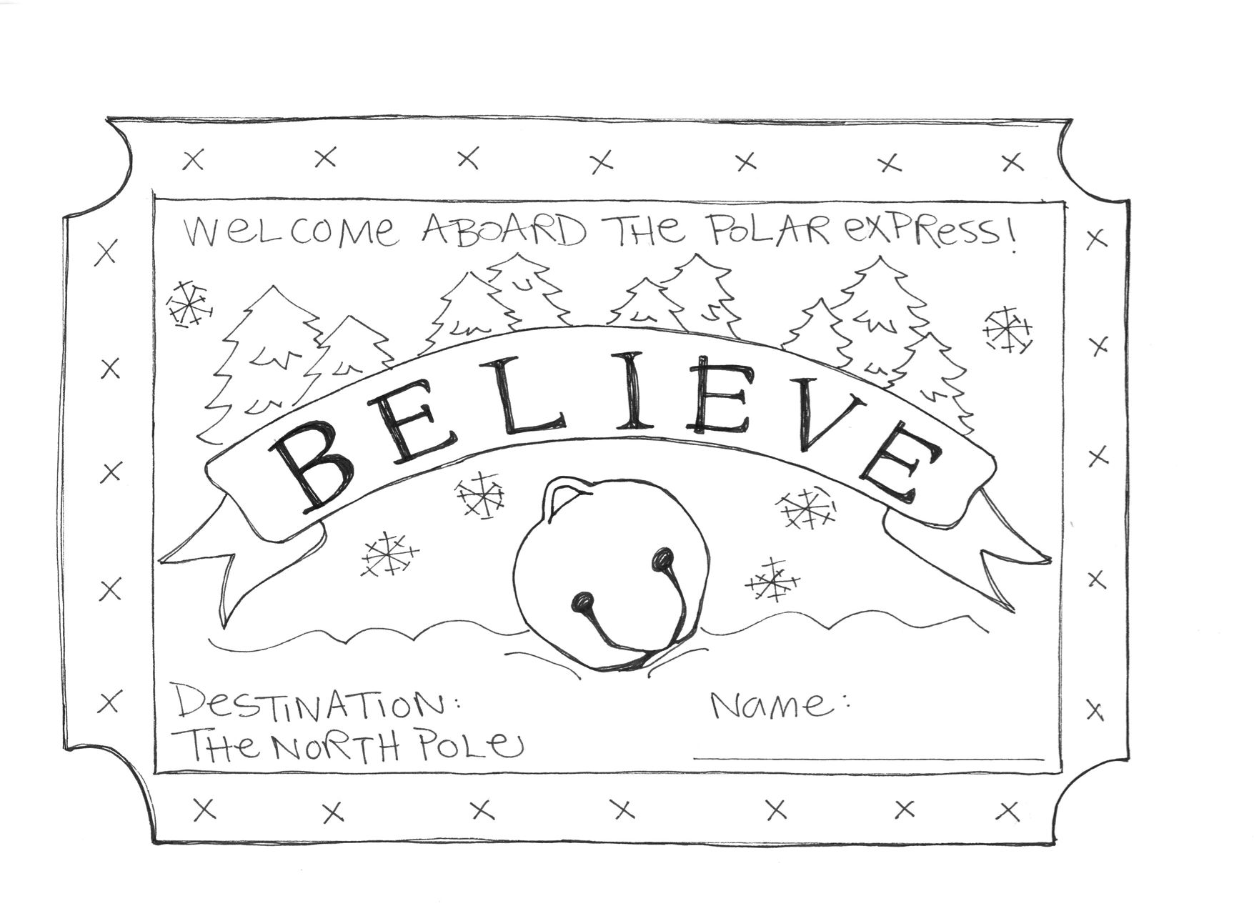 Made This Coloring Sheet For A Polar Express Themed