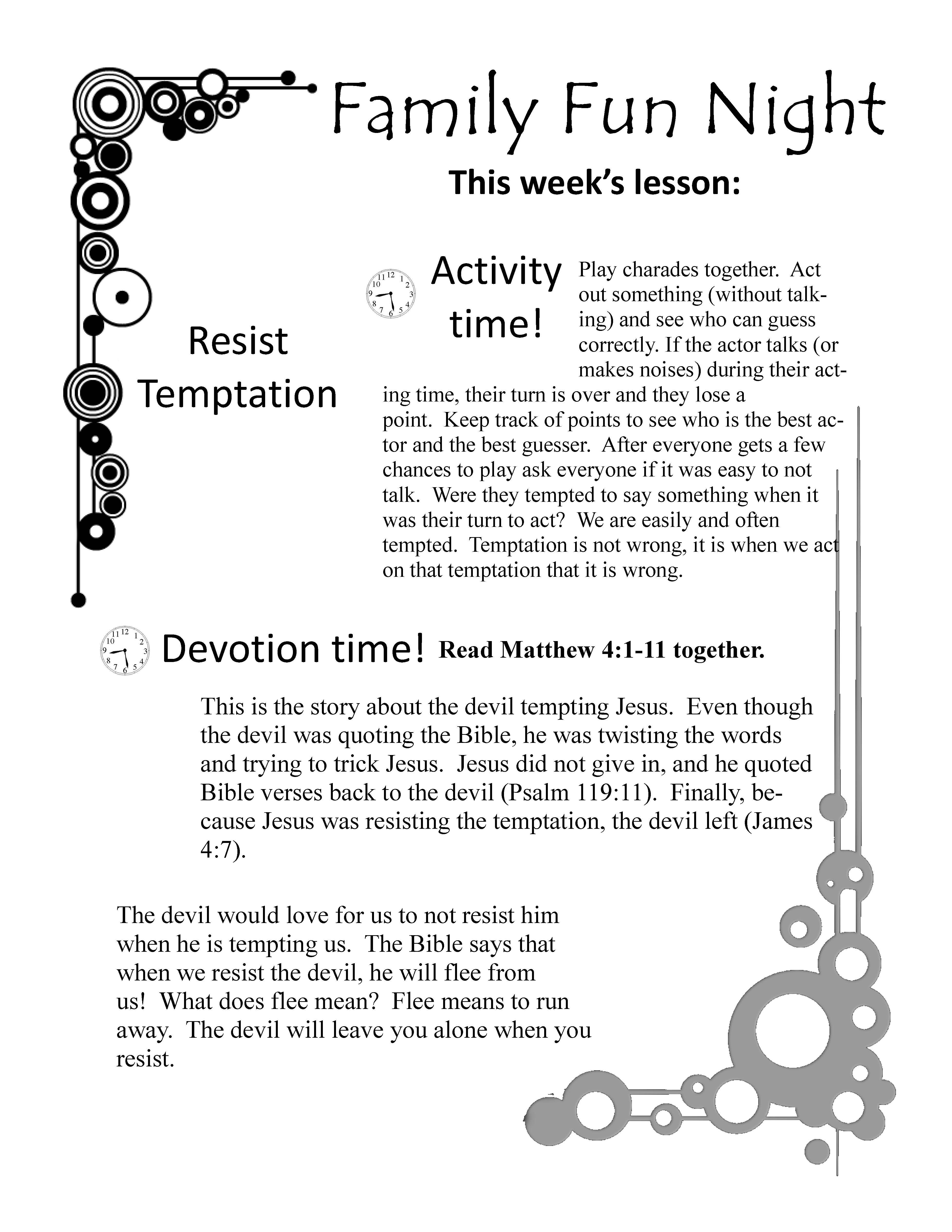 Fun Family Devotions Topic Temptation Resist The Devil