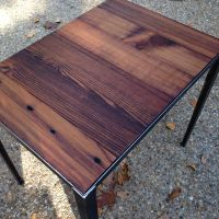 end table with angle iron base and reclaimed wood | Angle ...