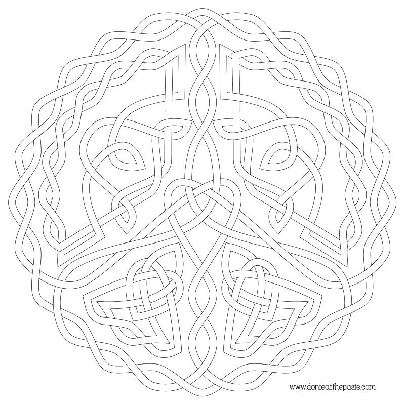 Peace Symbol Knot to Color in transparent PNG and JPG