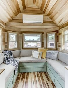 The point  sq ft home from modern tiny living with beautiful rustic design also built in  shaped benches have storage space and fold out into rh uk pinterest