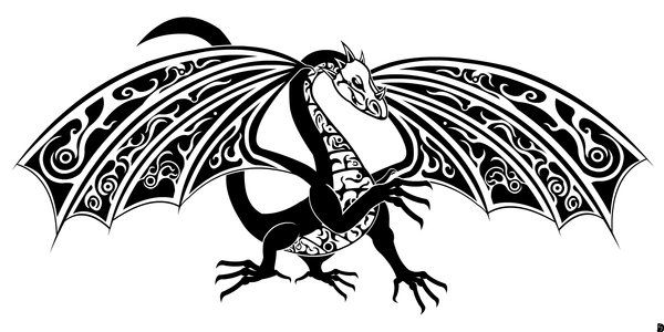 Tribal Dragon Black and White by ~GifHaas on deviantART