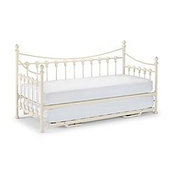 Julian Bowen Off White Etienne Single Bed Frame With Guest And Platinum Mattresses