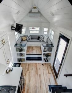 The sq ft tiny house has everything from  queen sized loft bedroom to beautiful raised living room also casitas pinterest houses and lounge areas rh