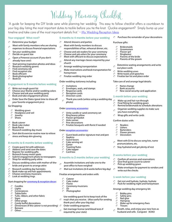 Wedding Day Timeline Printable Worksheets