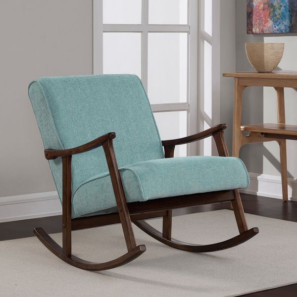 Aqua Fabric Retro Wooden Rocker Chair  Overstock
