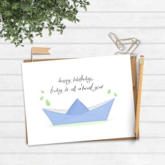 Funny Pun Birthday Greeting Card Fun Boat Love By