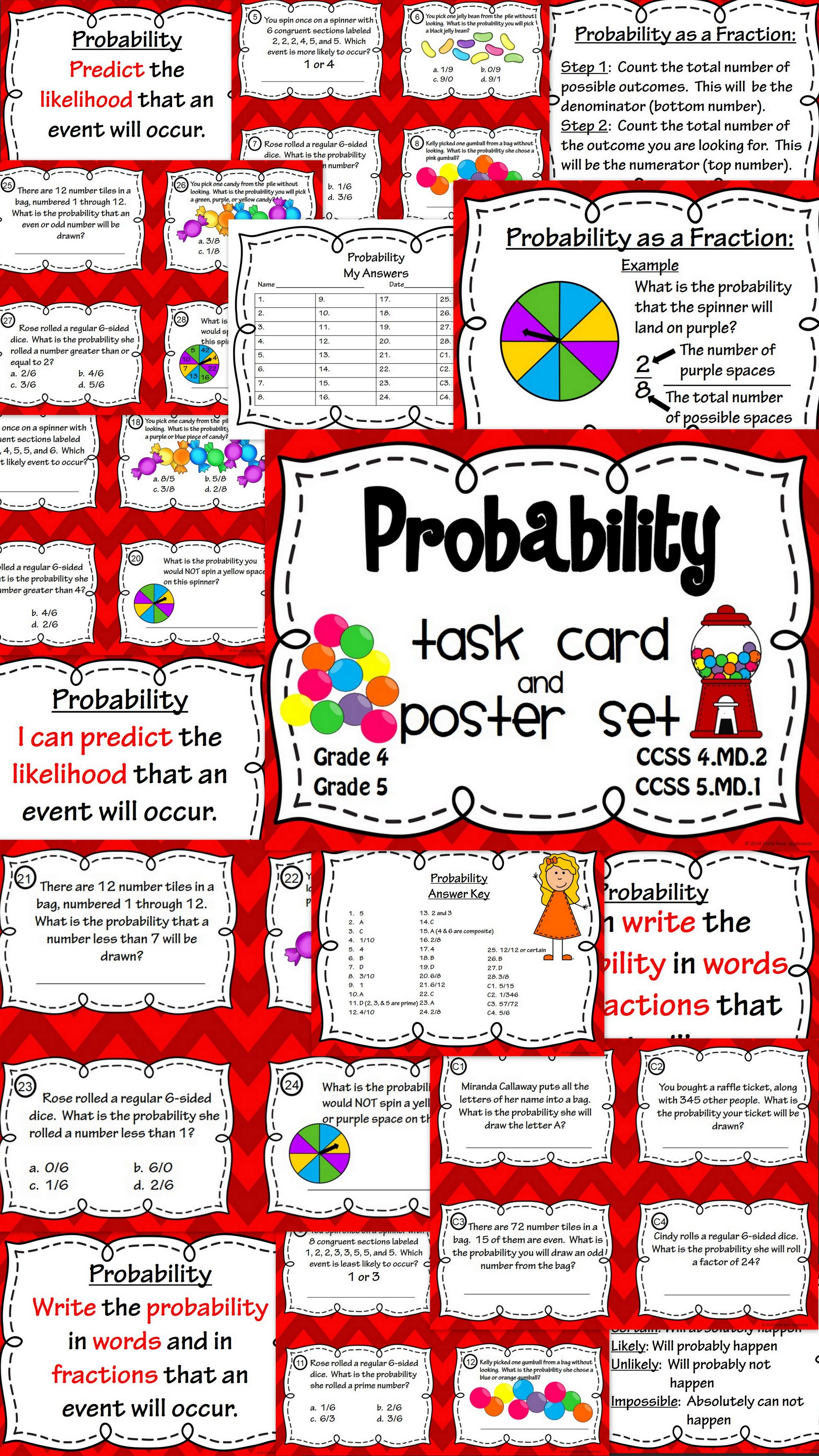 Probability Task Cards And Poster Set