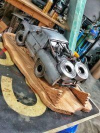 Trophy truck metal art with wooden base welding metalart ...