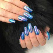 blue metallic coffin nails