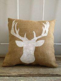Deer bust burlap pillow- deer silhouette, reindeer ...