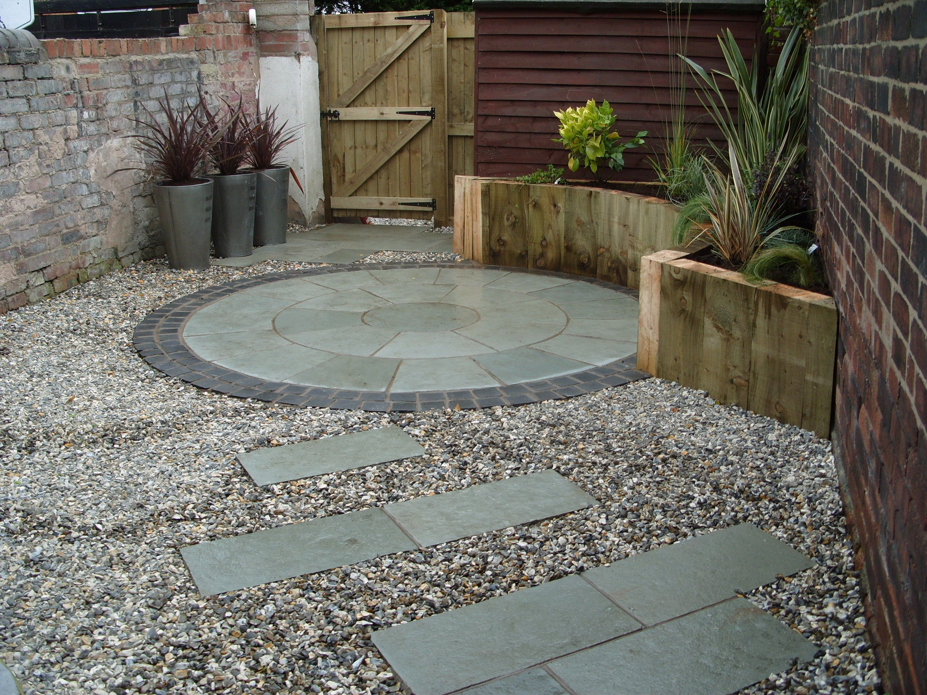 Garden Paving Courtyard Garden Planting In Raised Beds And