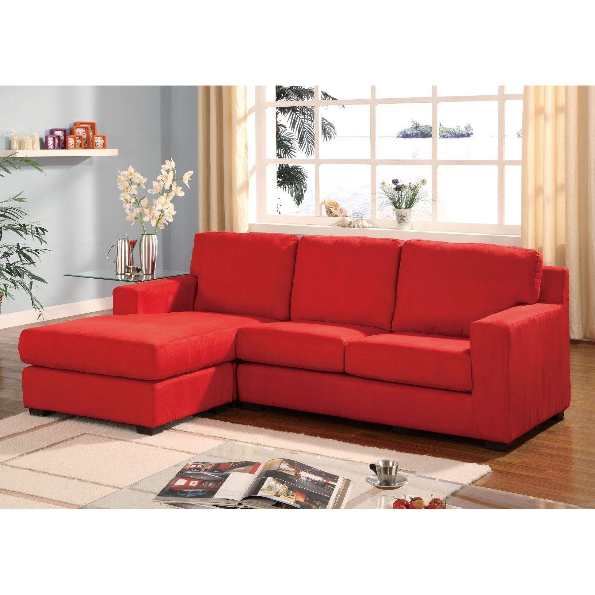 red microfiber reclining sofa used sectional sale multifunction reversible