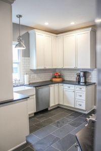 Modern Farmhouse Kitchen. Gray tile floors, white cabinets ...