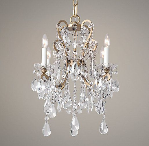 Manor Court Crystal 4 Arm Chandelier Aged Gold