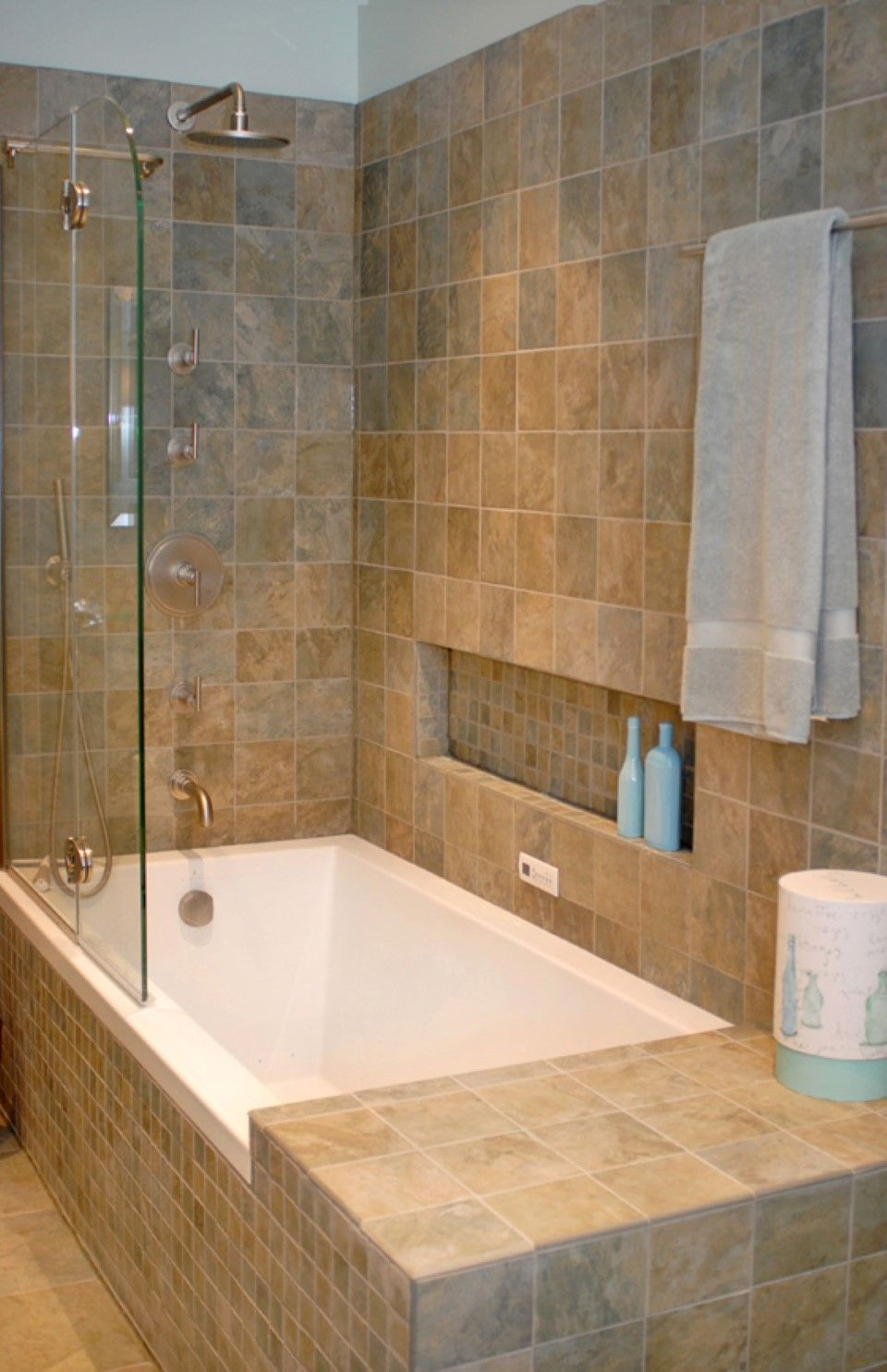Modern tub shower combinations: traditional bathroom tile