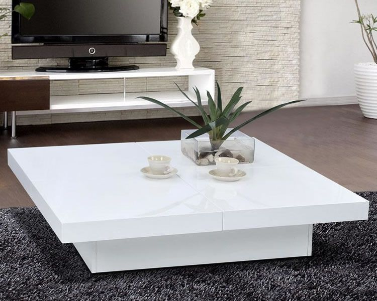 Modern White Coffee Table Glossy White Modern Storage Coffee Table Scene | Live