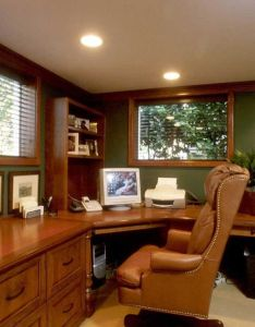 Classic green cool wooden home office design in fetching wall and luxury wood computer desk with comfortable leather chair also custom built furniture from creating the perfect rh za pinterest