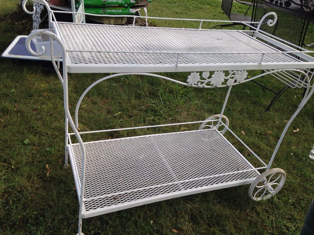 Woodard Wrought Iron Patio Serving Cart
