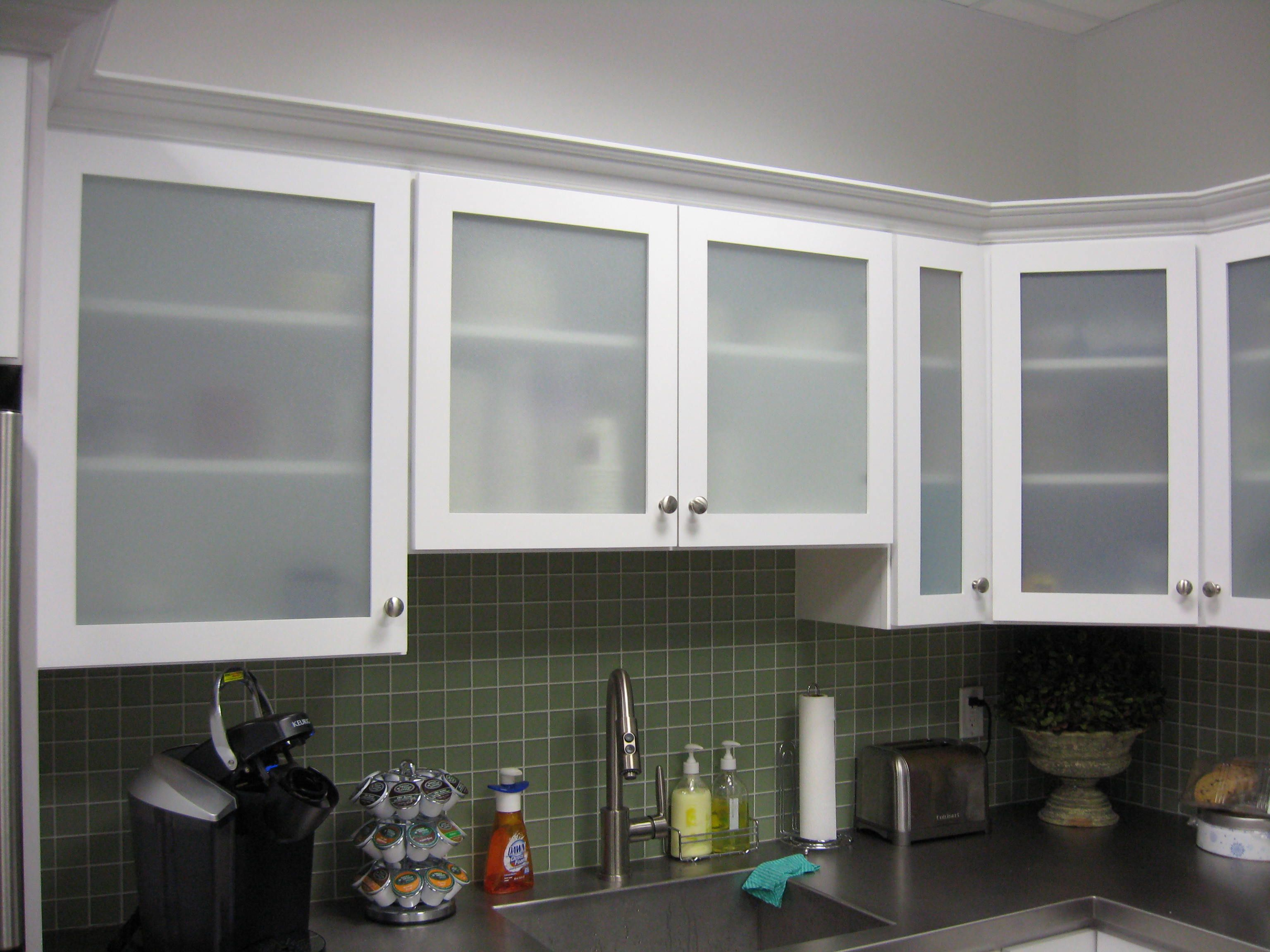 White Kitchen Cabinets with Frosted Glass Doors  Shaylas
