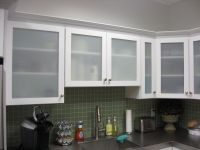 White Kitchen Cabinets with Frosted Glass Doors