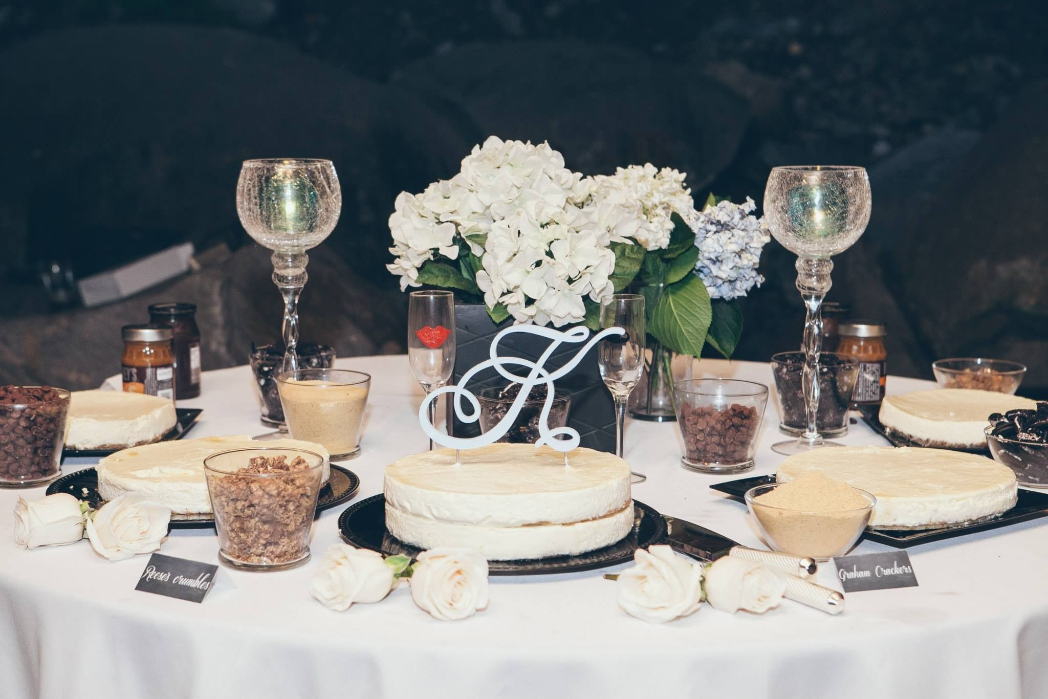 Wedding Cheesecake Bar With Fresh Toppings And Chalkboard