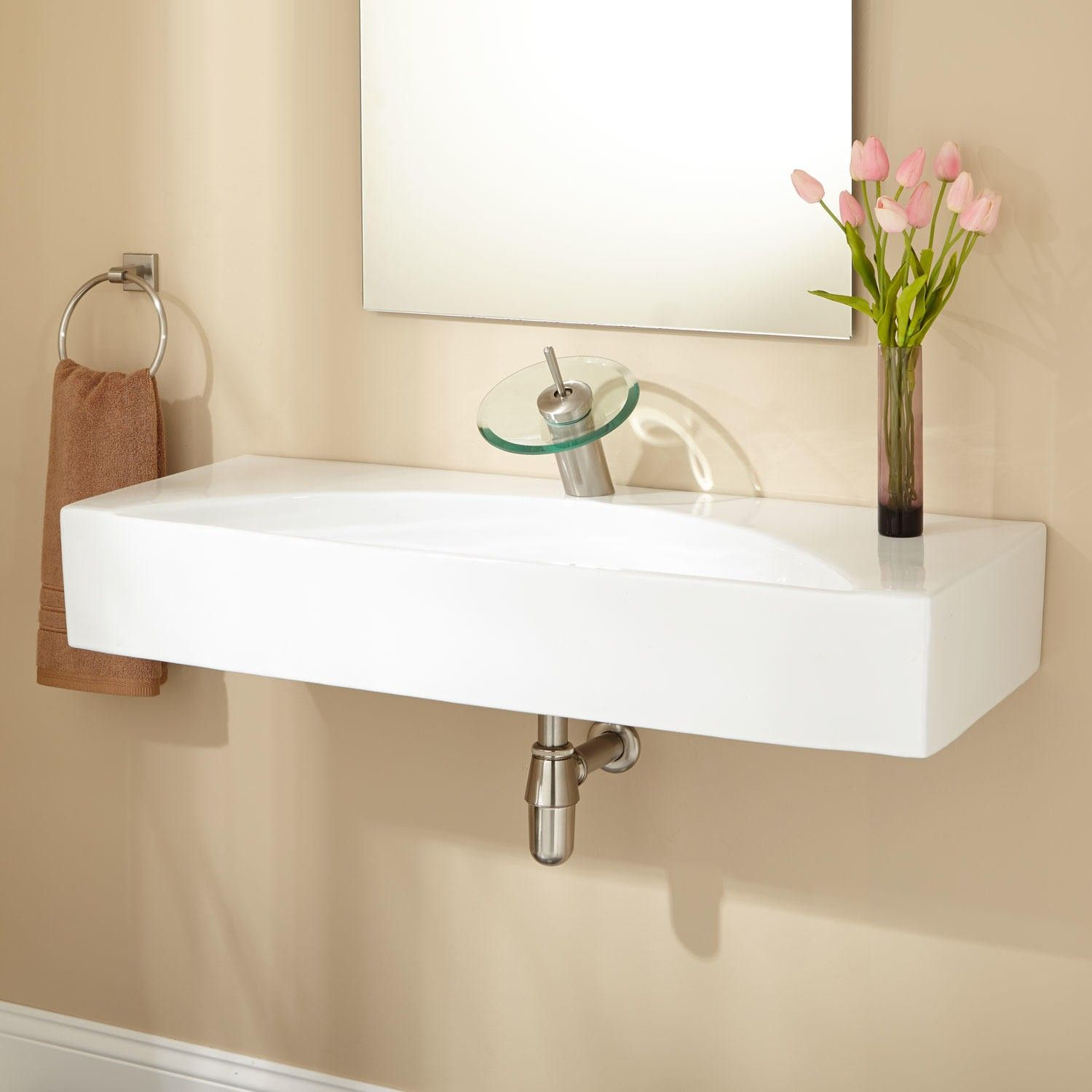 36 Fausto Porcelain Console Sink with Brass Stand  Wall