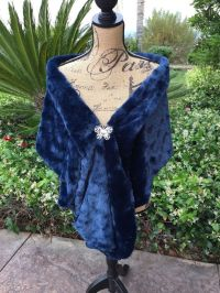 Navy Faux Fur Wrap Wedding Stole Bridal Shawl by ...