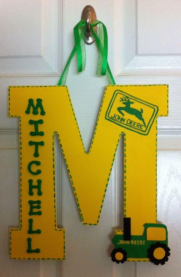 John Deere Nursery Lg Letter Hanger. Personalized