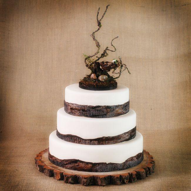 Rustic Wedding Cakes  Rustic Wooden Bird Nest Cake topper
