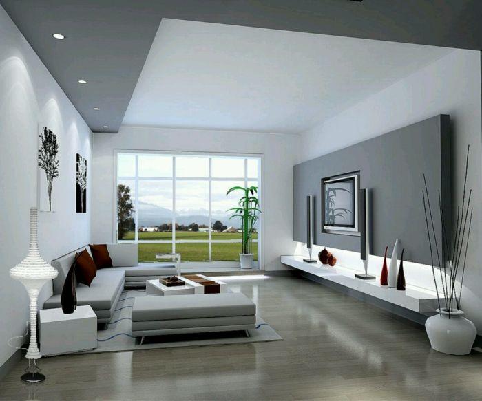 einrichtungsideen wohnzimmer einbauleuchten dekoideen panoramafenster  Innendesign  Pinterest