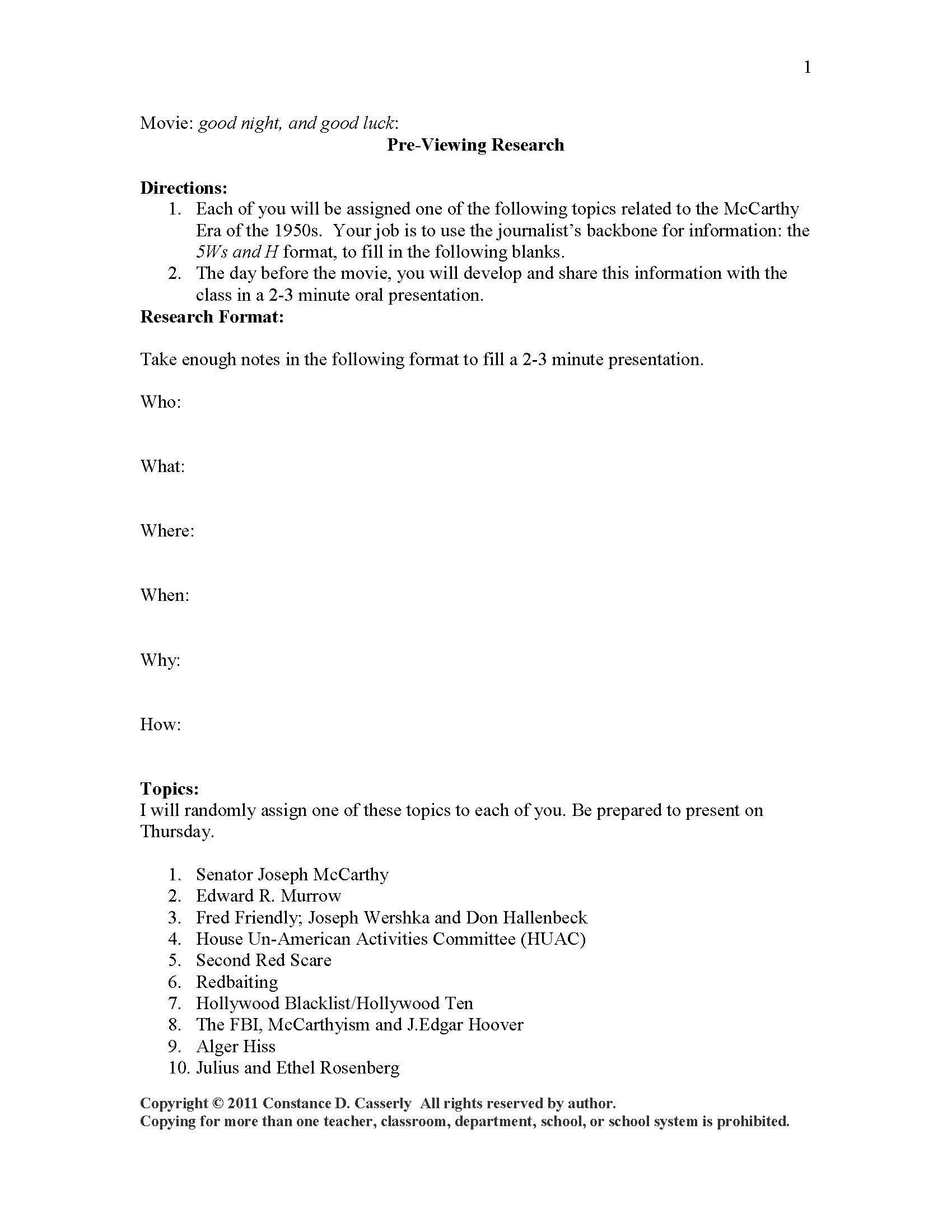 Journalism Worksheet Lesson