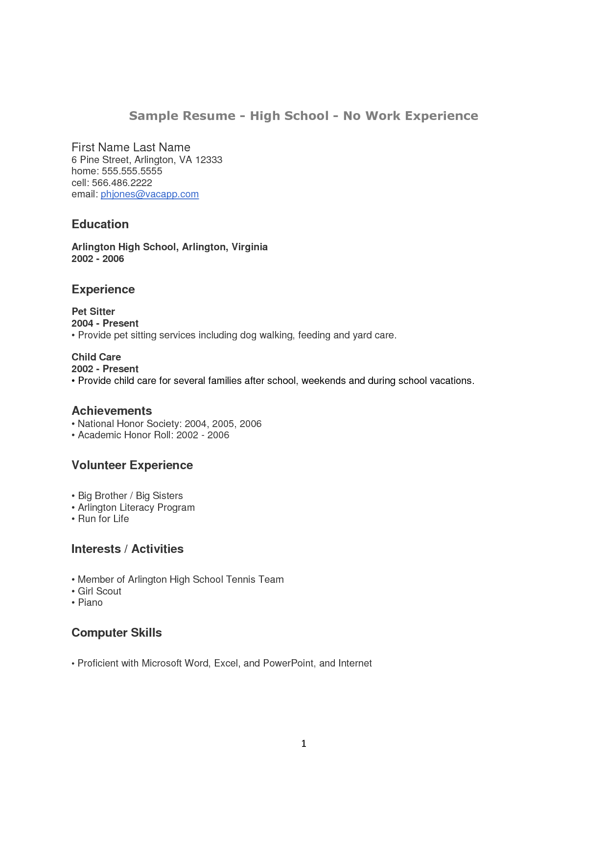 how to make a resume for a highschool student with no experience  Google Search  doc