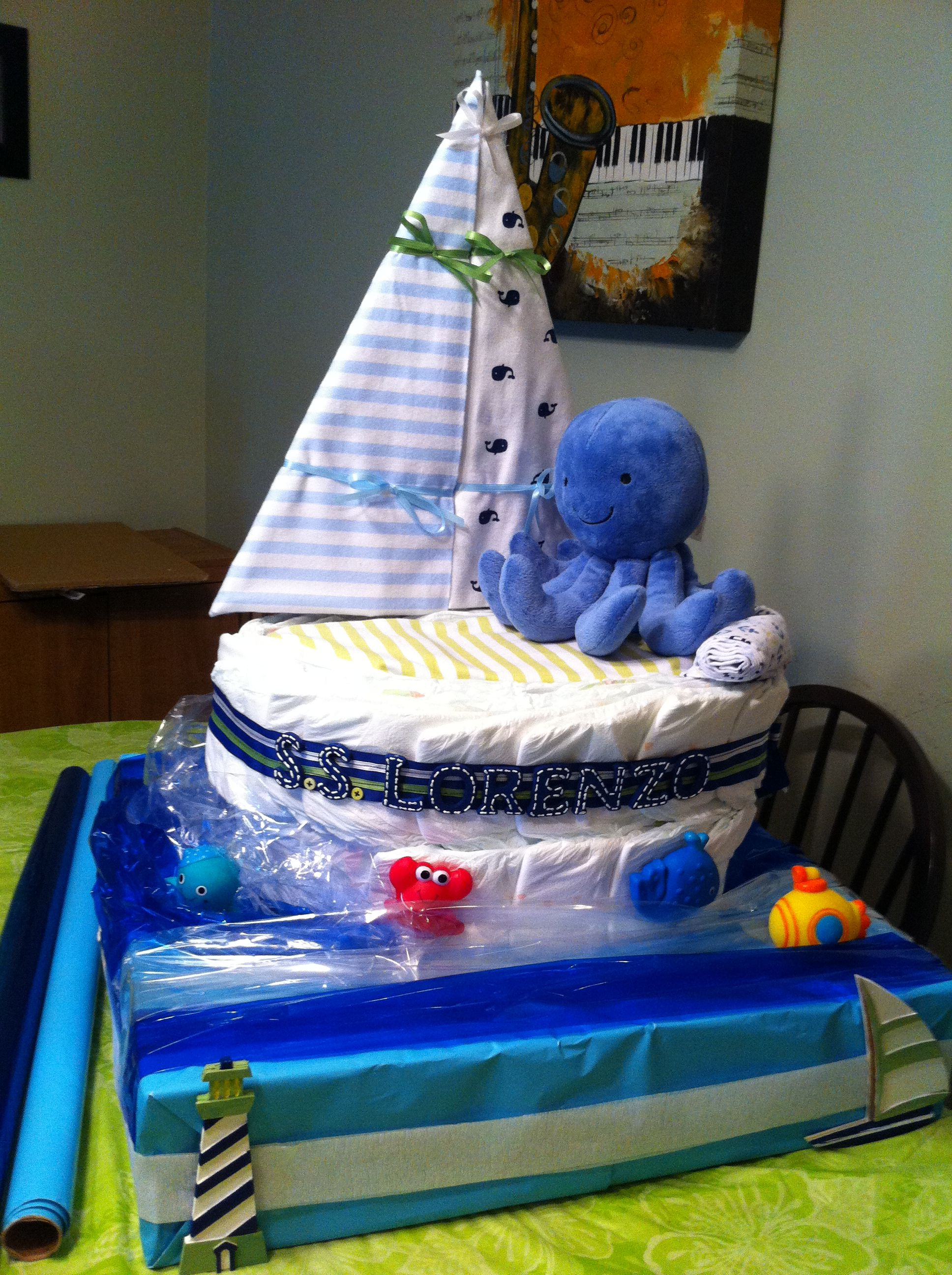 Sail Boat Diaper Cake See Craftyconjuring On Youtube For
