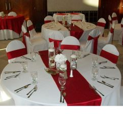 Chair Covers And Table Linens Rentals Linen Chairs Dining Red Crepe Back Satin Runners On White Poly Base