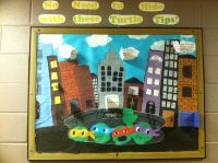 TMNT themed Safety Bulletin Board! Many windows and things ...
