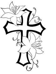 cross flower tat design